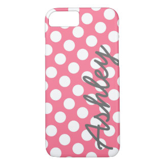 Trendy Polka Dot Pattern with name - pink gray iPhone 7 Case