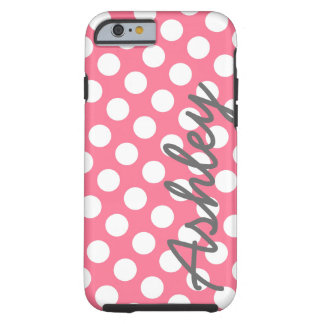 Trendy Polka Dot Pattern with name - pink grey Tough iPhone 6 Case