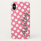 Trendy Polka Dot Pattern with name - pink grey iPhone X Case