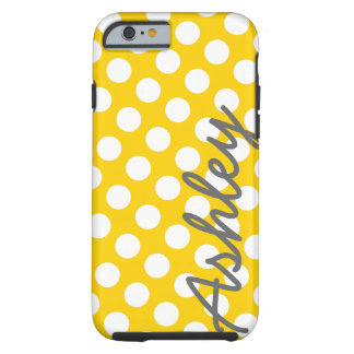 Trendy Polka Dot Pattern with name - yellow gray Tough iPhone 6 Case