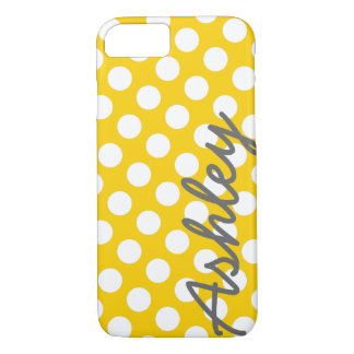 Trendy Polka Dot Pattern with name - yellow gray iPhone 7 Case