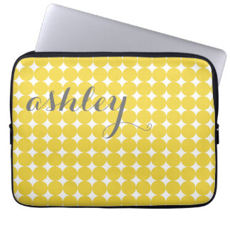 Trendy Polka Dot Pattern with name - yellow gray Laptop Computer Sleeve