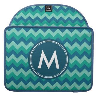 Trendy Preppy Teal Blue Chevron Monogram MacBook Pro Sleeve