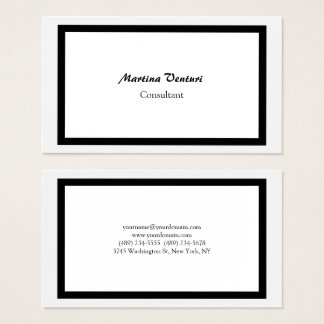 Trendy Professional Simple Plain Black & White Business Card