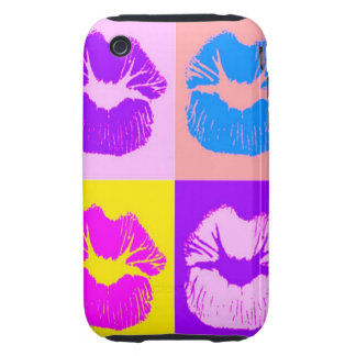 Trendy Puckered Lips Kiss Retro Pop Art Tough iPhone 3 Cases