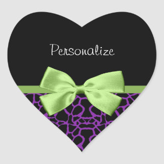 Trendy Purple And Black Giraffe With Green Ribbon Heart Sticker