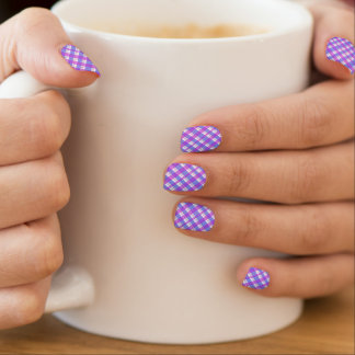 Trendy Purple and blue checks pattern Minx Nail Art