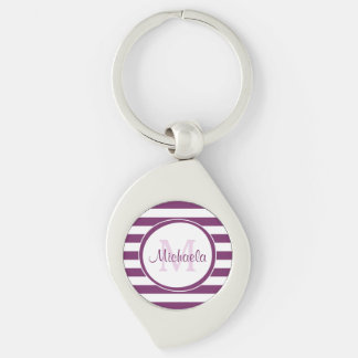 Trendy Purple and White Stripes Monogram With Name Silver-Colored Swirl Key Ring