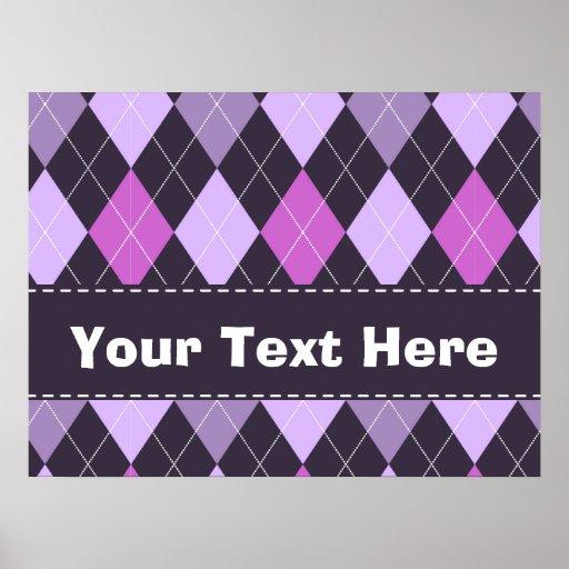Trendy Purple Argyle Poster