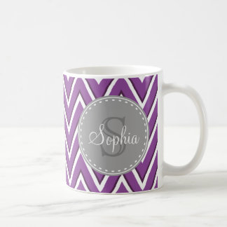 Trendy Purple Chevron Pattern Grey Monogram Coffee Mug