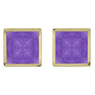 Trendy Purple Circle Pattern Gold Finish Cufflinks