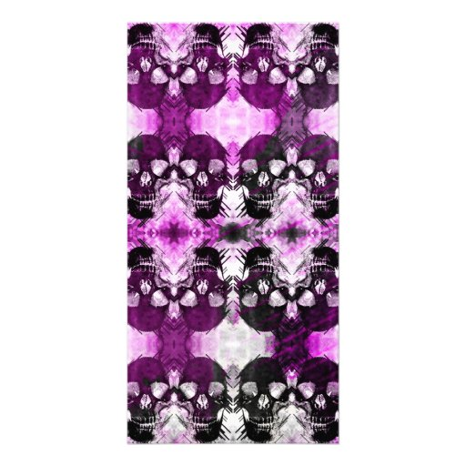Trendy Purple Graphic Skull Photo Card Template