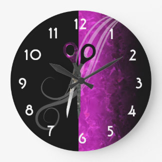 Trendy purple hair salon clock