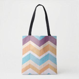 Trendy Purple Orange & Blue Chevron Pattern Tote Bag