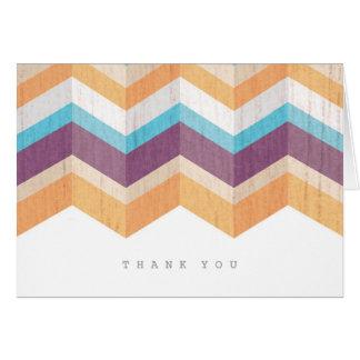 Trendy Purple Orange & Blue Chevron Thank You Card