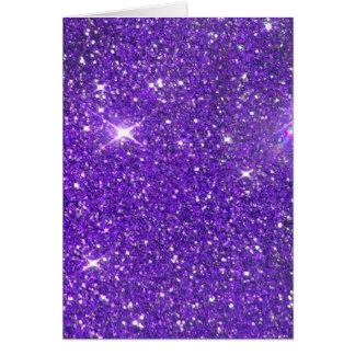 Trendy Purple Sparkling Glitter Glitz Stationery Note Card