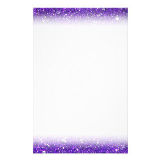 Trendy Purple Sparkling Glitter Glitz Personalized Stationery