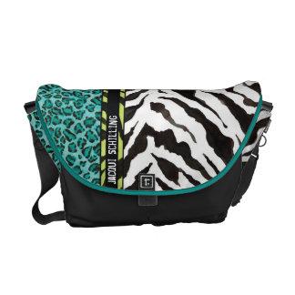 Trendy Purple Teal Black Leopard Zebra Pattern Commuter Bags