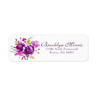 Trendy Purple Watercolor Floral Return Address Return Address Label