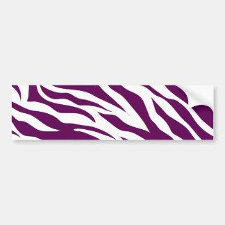 Trendy Purple White Zebra Stripe Wild Animal Print Bumper Sticker