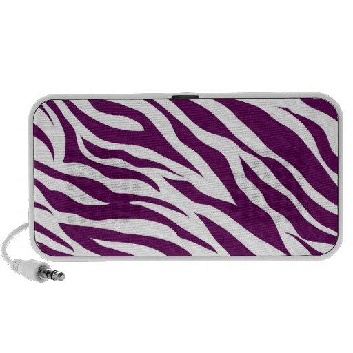 Trendy Purple White Zebra Stripe Wild Animal Print Portable Speakers