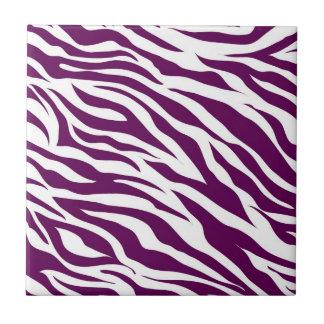 Trendy Purple White Zebra Stripe Wild Animal Print Tile