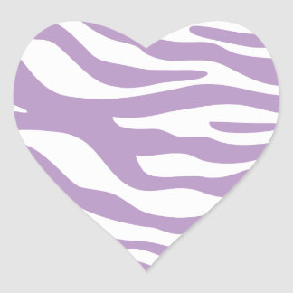Trendy Purple Zebra Print Pattern Heart Sticker