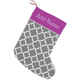 Trendy Quatrefoil Pattern Personalized Name Small Christmas Stocking