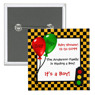 Trendy Race Car Checkers Boy Baby Shower 15 Cm Square Badge