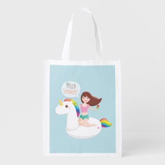 Trendy Rainbow Unicorn Float Summer Grocery Bag
