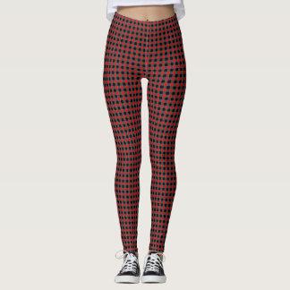 Trendy Red and Black Check Plaid Customizable Yoga Leggings