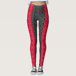 Trendy Red and Black Pattern Design Leggings