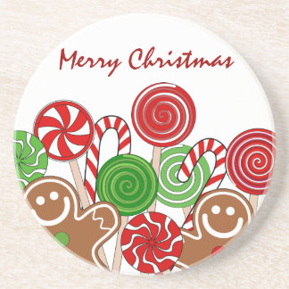 Trendy red Christmas gingerbreads Coaster