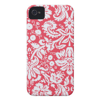 Trendy Red Damask Pattern iPhone 4 Cases