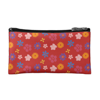 Trendy red floral Cosmetic Bag