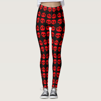 Trendy Red Grunge Skulls On Black Leggings