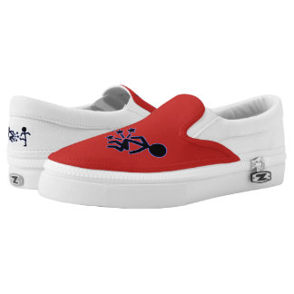 Trendy red kick shoes design