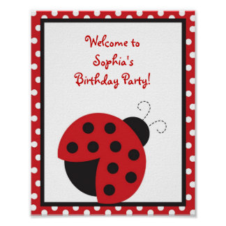 Trendy Red Ladybug Birthday Baby Shower Sign