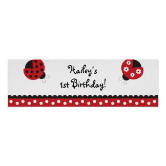 Trendy Red Ladybug Birthday Banner Sign Print