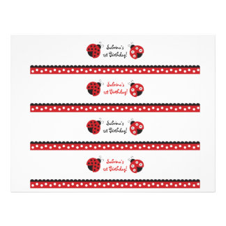 Trendy Red Ladybug Water Bottle Labels Flyer