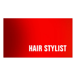 Trendy Red Professional Modern Hair Stylist Pack Of Standard Business Cards