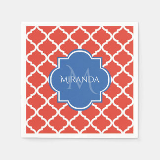 Trendy Red Quatrefoil Blue Monogram and Name Disposable Napkin