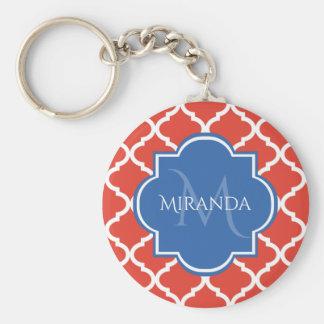 Trendy Red Quatrefoil Blue Monogram and Name Key Ring
