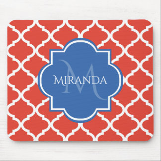 Trendy Red Quatrefoil Blue Monogram and Name Mouse Mat