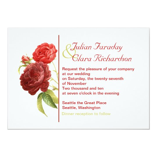 trendy red roses wedding invitation