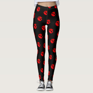 Trendy Red Skulls On Black Fitness Leggings