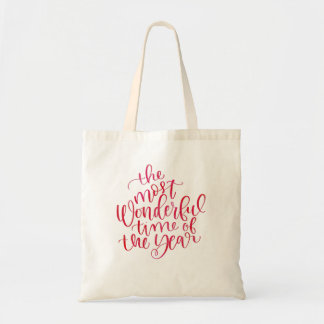 Trendy Red Watercolor Xmas Hand Lettered Script Tote Bag