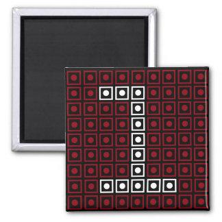 Trendy Red, White & Black 8-bit LED Pixel Number 1 Magnet