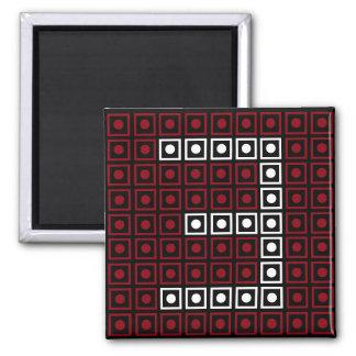 Trendy Red, White & Black 8-bit LED Pixel Number 3 Magnet