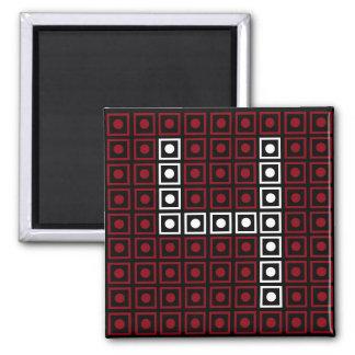 Trendy Red, White & Black 8-bit LED Pixel Number 4 Magnet